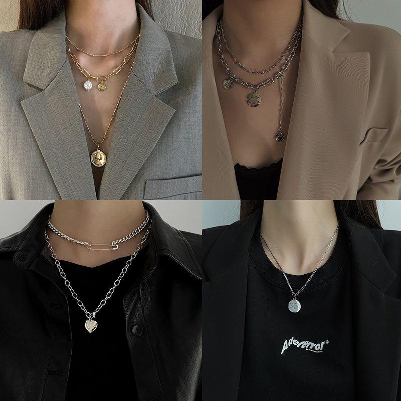 Doppelschicht Hip Hop Trampy Pullover Halskette Frauen Mode Net Red Temperament Ins Anhänger Lange Vielseitige Einfache Schlüsselbeinkette