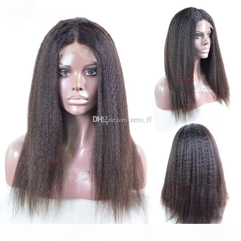Kinky прямой полный кружевной парик индийская девственница человеческие волосы светлые яки кружева передний парик натуральные черные цвета парики волос