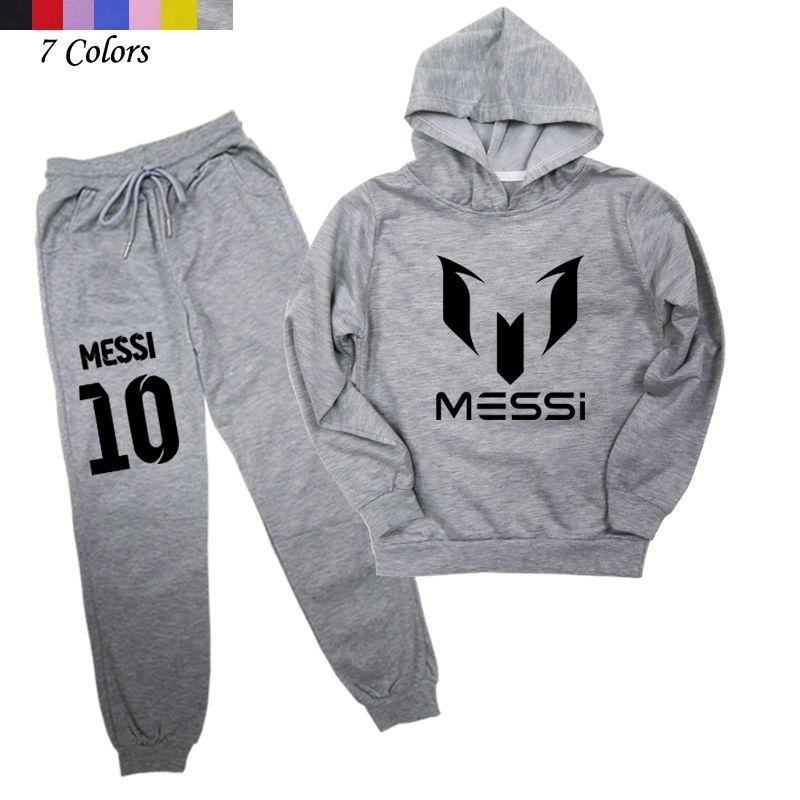 Futbol Yıldız Messi Baskılı 2 adet Çocuk Giyim Erkek Kız Moda Hoodies Harem Pantolon Youth Pamuk Koşu Takım 201126