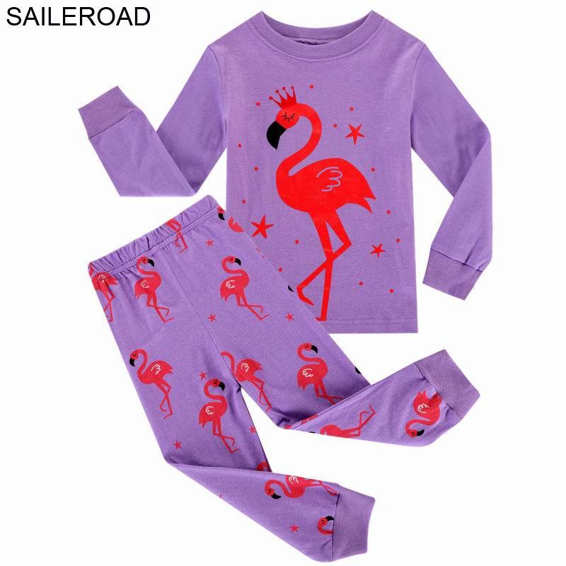 Saileroad çocuk pijama kız giysileri için takım elbise desen bebek kız pijama kıyafeti çocuk giyim