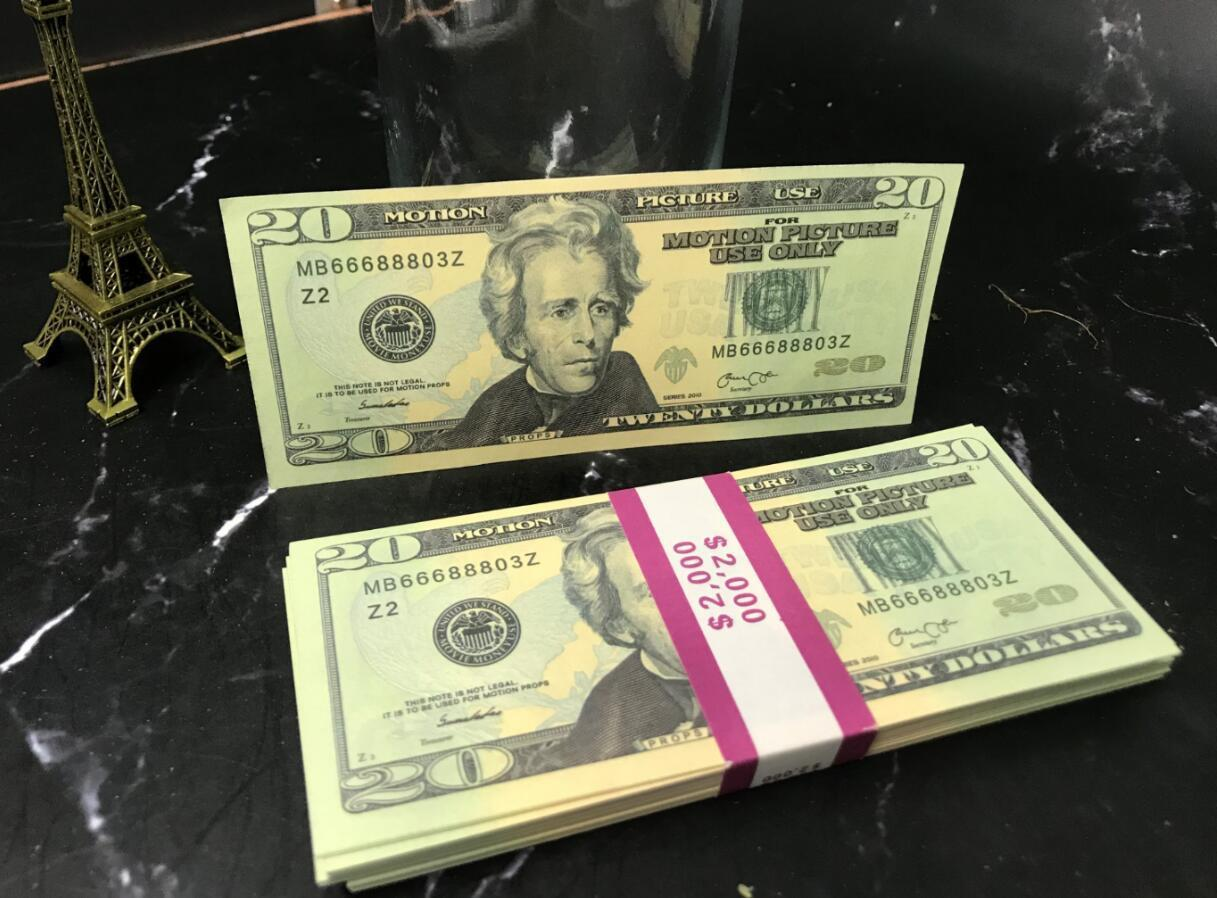 Fake 20 US dollors banknote cheap prop money paper from China Best selling Fake money 100pcs/pack