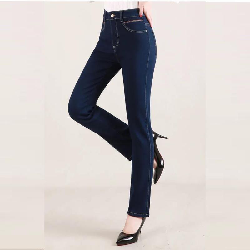 Женские джинсы с высокой талией прямые брюки большой свободный эластичный тонкий тонкий тонкий