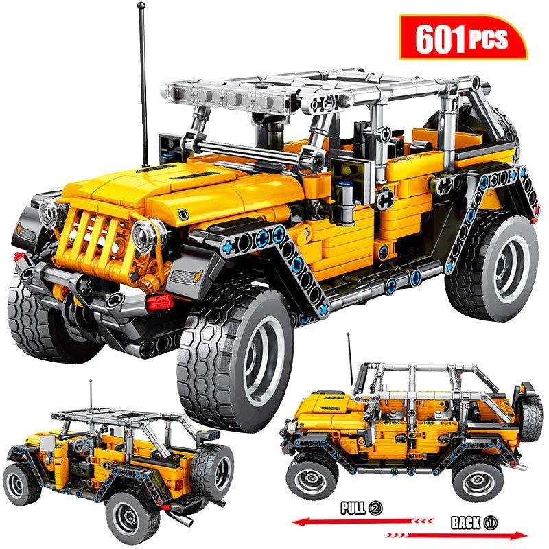 601PCS Créateur Créateur Mechanical Tirez le dos Jeep Off-Road Véhicule Bâtiment Blocs City Technic Voiture Briques Jouets pour garçons Q1125