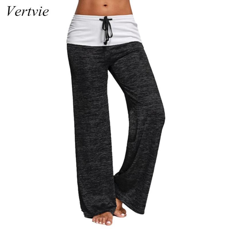 Vertvie Femmes Spring Printemps Pantalon Pantalon 2020 Cordon de cuve des jambes larges Pantalon lâche Pantalon droit Plus Taille Taille basse Taille Leggings