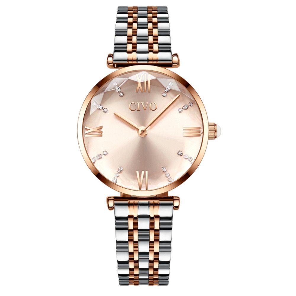 CIVO 2020 Moda Luxo Senhoras Relógios de Pulso Top Marca Rosa Gold Steel Strap Waterproof Women's Bracelet Watch Zegarek Damski J1205