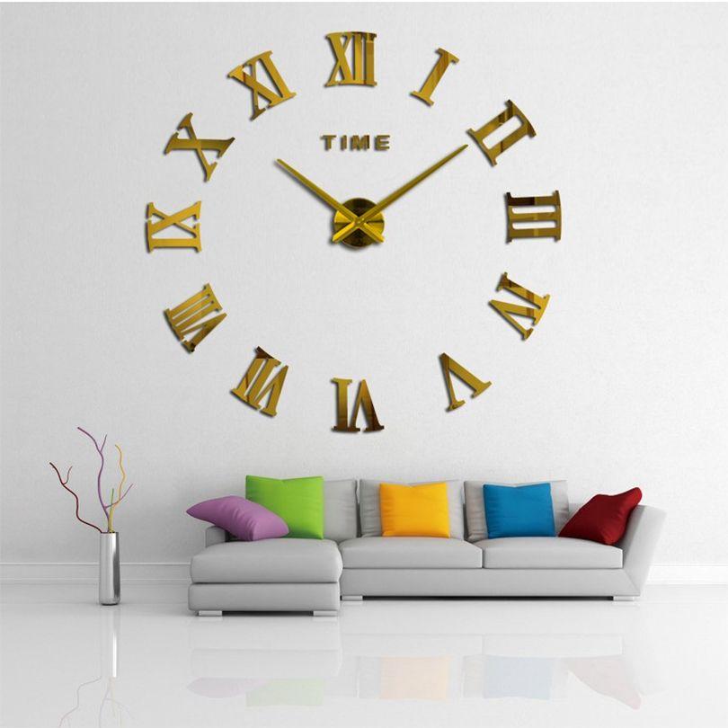 Promotion 2020 Nouveau bricolage mural Horloge Home Decor Grand Miroir romain Mode Moderne Quartz Horloges Salon Montre Livraison Gratuite LJ201204