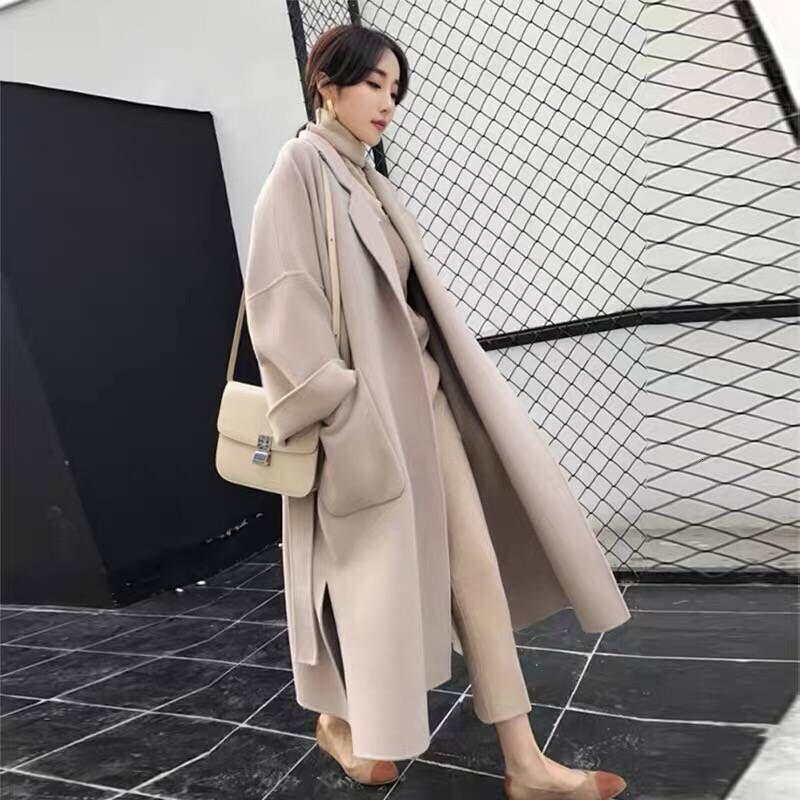 Bayan Faux Yün Karışımları Cape Uzun Giyim Siyah Kore Yün Vintage Kadın Ceket Kış Kadın Bayanlar Mont