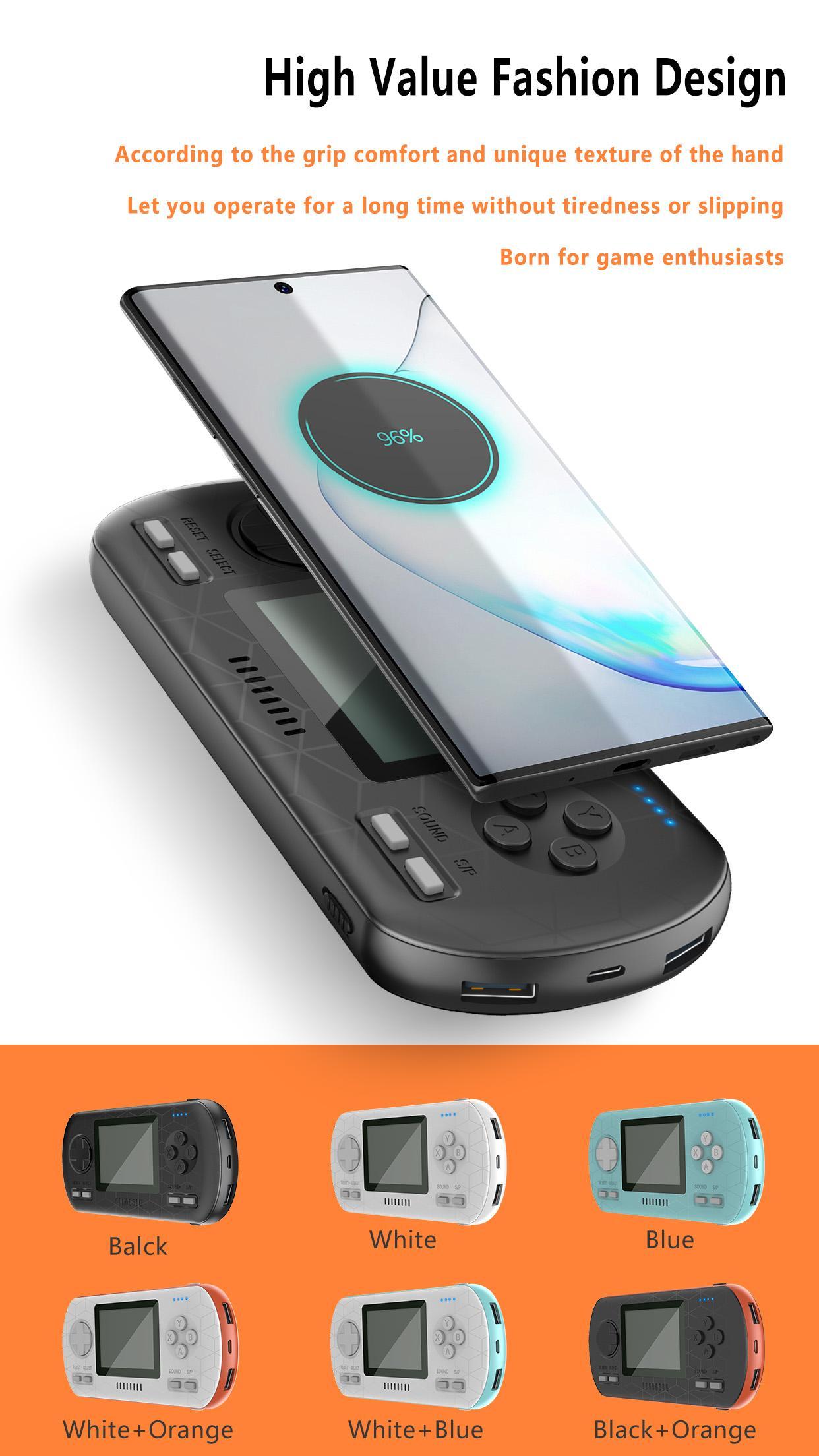 Cep Telefonları Dahili Klasik Oyunlar HD LCD Renkli Ekranda Kablosuz Güç Bankası Fonksiyonlu El Oyun Konsolu