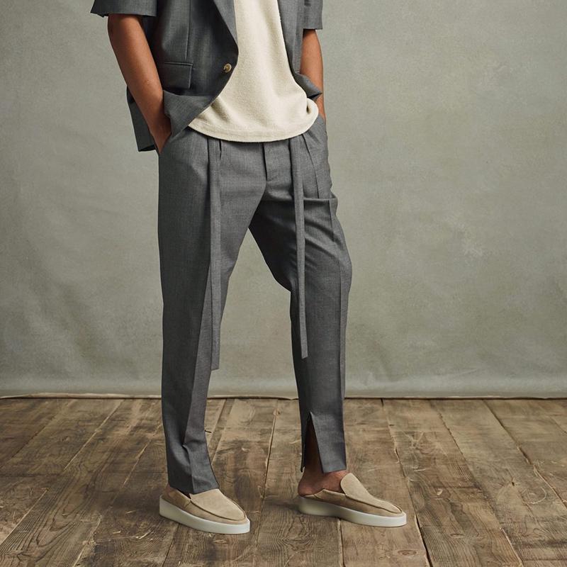 Cintas Soild Soild Gris Negro Straight Traje Pantalones Hombre Asas de gran tamaño Pantalones de vía informal sueltos Hip Hop Baggy Pantalones