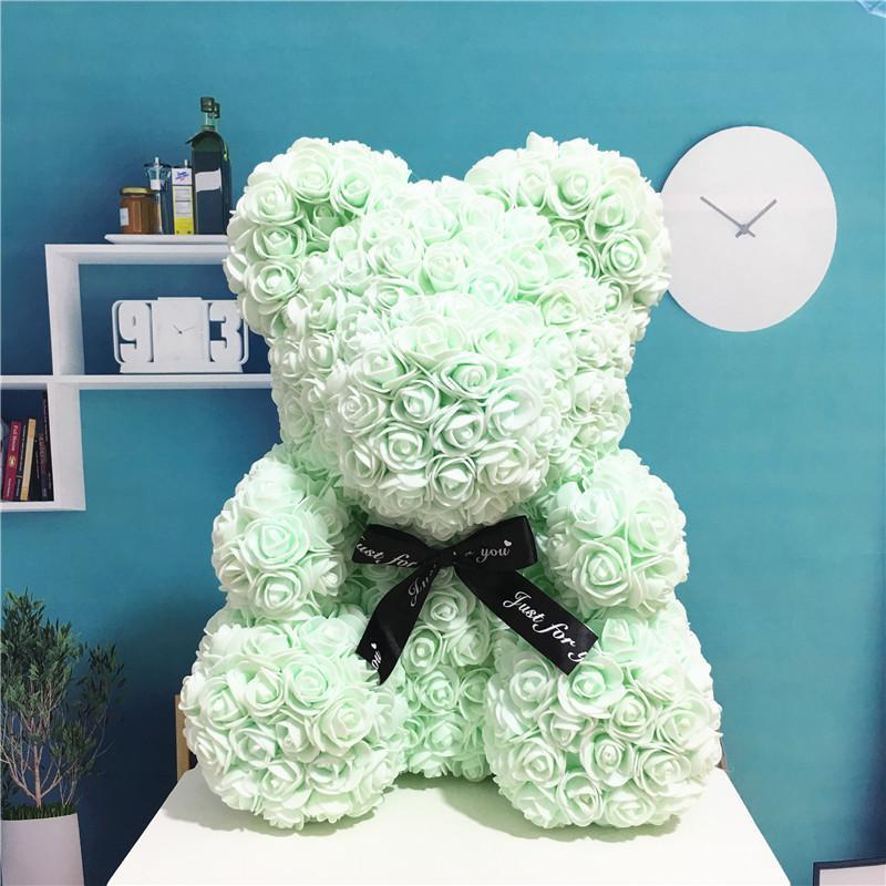 Para rosa 24 cm caja de espuma con valentín de regalo Teddi Gift Bear Bear Bear Bear Artificial Rose Mujeres Juguetes Dropshipping Ajudg