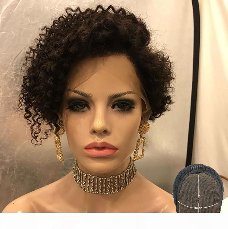 Pixie corte peluca corta rizado bob 4x4 encaje cierre humano pelo peluca pre arranque blanqueado nudos remy desplegable 150 180 represión atina