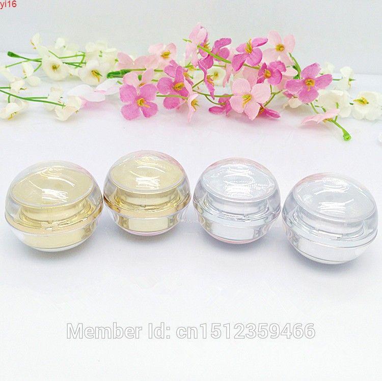 5G 5 ml d'acrylique rond, boîte à crème pour les yeux cosmétiques, petite bouteille de cristal, or brillant et argent 50pcs / logoods
