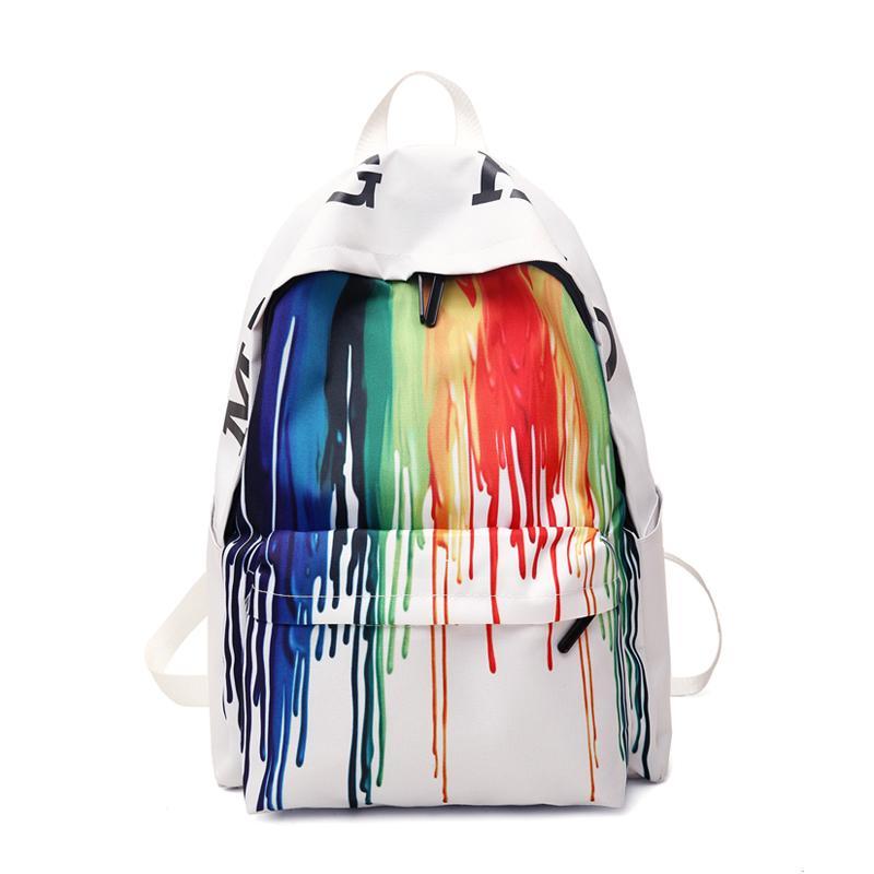 Fashion Women's Color Striped Canvas School Graffiti Large Capacity Backpack Travel Ladies Bag Q1113