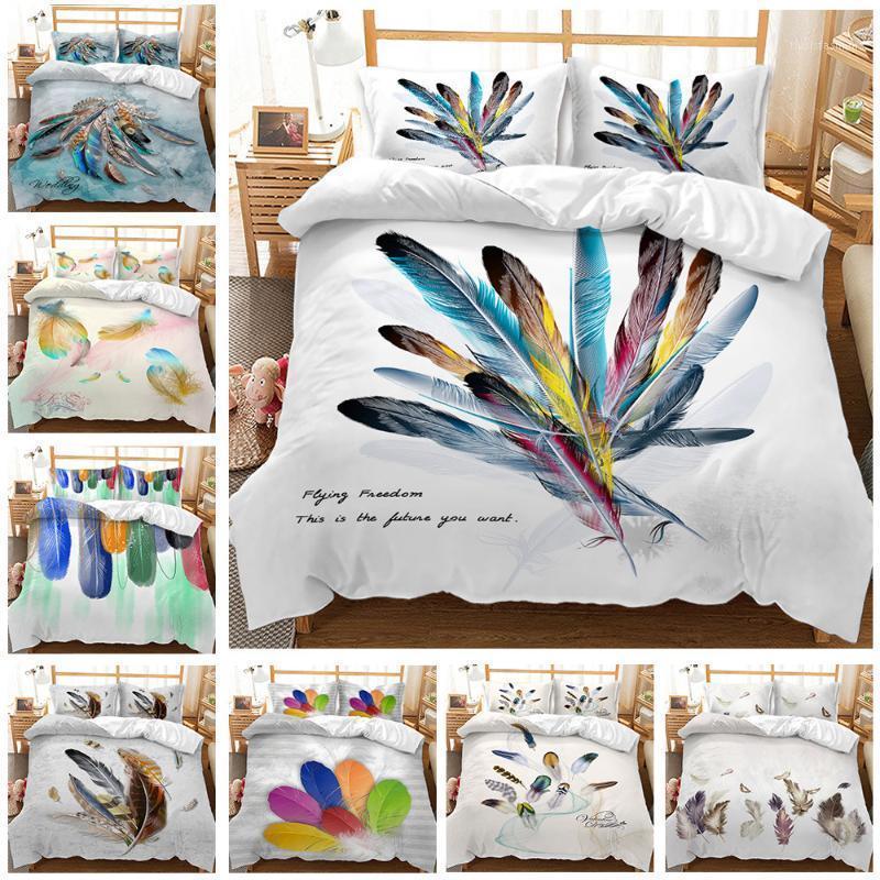 Literie de plumes Linge Double Linge de lit Home Textile Double Couette Couvre-oreiller Couverture Chambre à coucher Literie Literie Queen King Size1