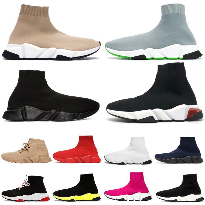 chaussures Tasarımcı Çorap Ayakkabı Grafiti Hız Eğitmenler Koşucu Glitter Moda Temizle Sole Kadın Erkek Casual Sneakers Platformu