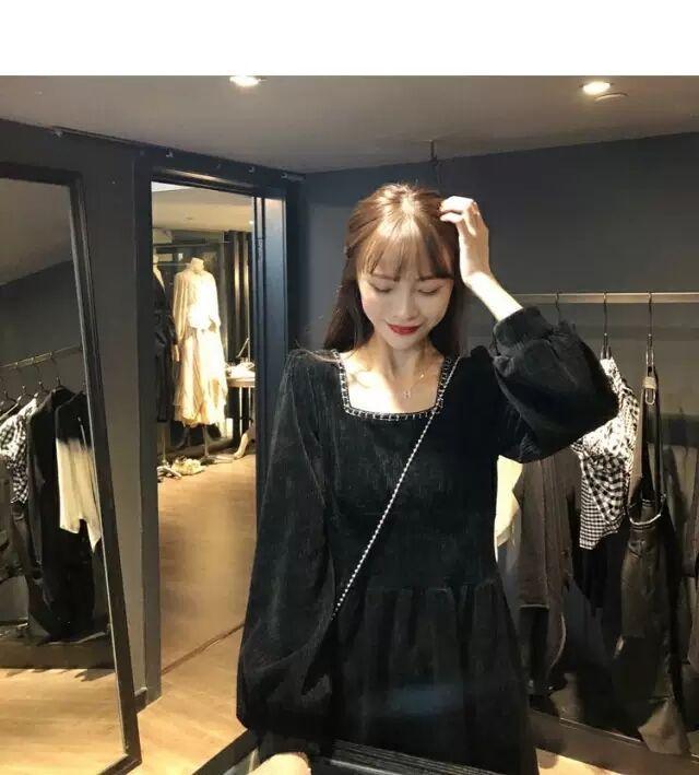 Платье женщин с длинным рукавом плиссированный элегантный корейский стиль простая вечеринка плюшевые квадратные воротника ретро платье женщин