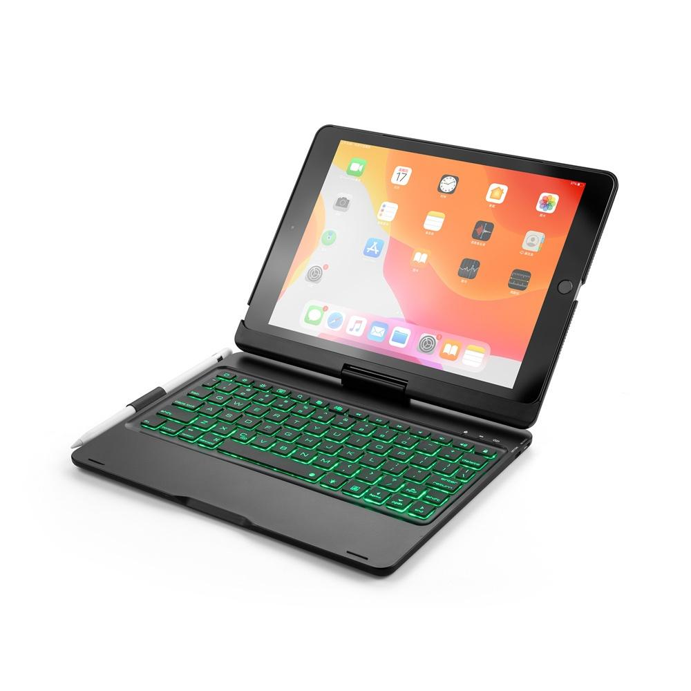 Für neue 10.2 2.019 7 Farben LED-Hintergrundbeleuchtung 360 Grad-Schwenker-Rotating Smart Wireless Bluetooth Tastatur-Kasten-Abdeckung für iPad 10.2