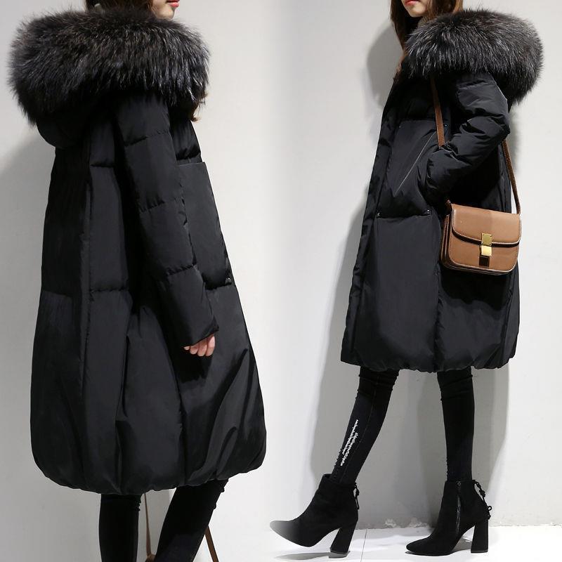 Mulheres Grandes Femininas Down Feminino Meio-Comprimento 5XL Tamanho Gola de Inverno Mulher 2020 Novo Pão Big Coat Jacker Biukv