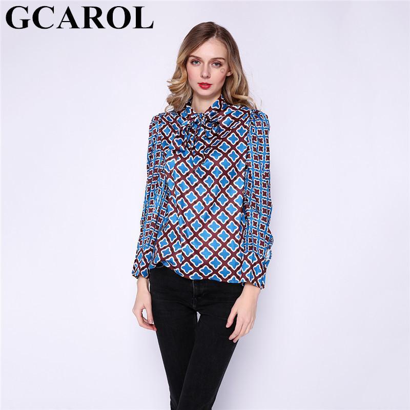 GCAROL NOUVEAUX FEMMES Géométrique Chemisier Floral Spring Fall Fall Bowknot Shirt Asymétrique Vintage Streetwear Tops T200321
