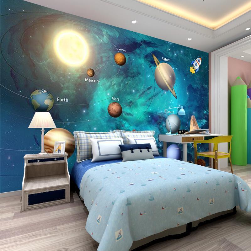 3D Fond d'écran Space Univers Enfants Chambre Starry Sky Planet Fond d'écran 3D Stéréo Cartoon Mural Papel de Pardure Infantil Fresco