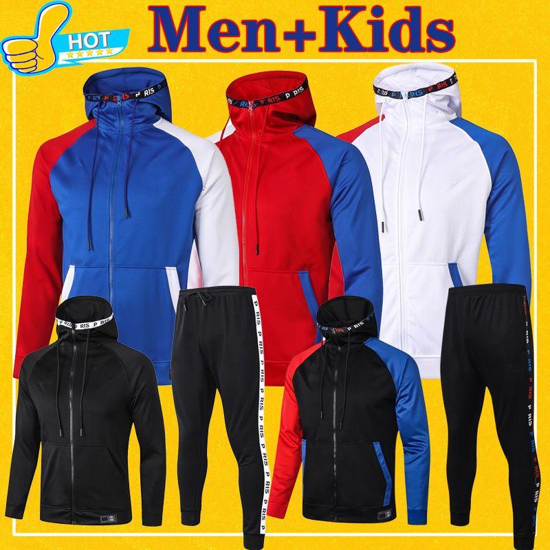 psg París Full Zip chaqueta con capucha del fútbol Sudadera chaqueta con capucha de fútbol chándal de los hombres + 2020 2021 niños traje de entrenamiento 20 21