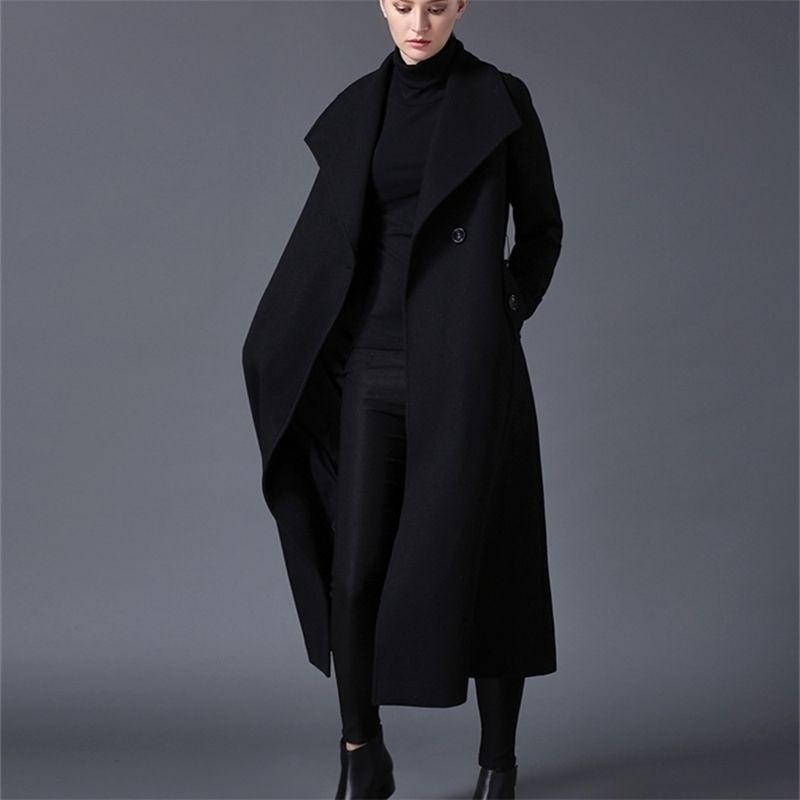 Cappotto di lana di inverno Coat da donna Risvolto Black Dark Blue Sezione lunga Black Listing Large Dimensioni 201215