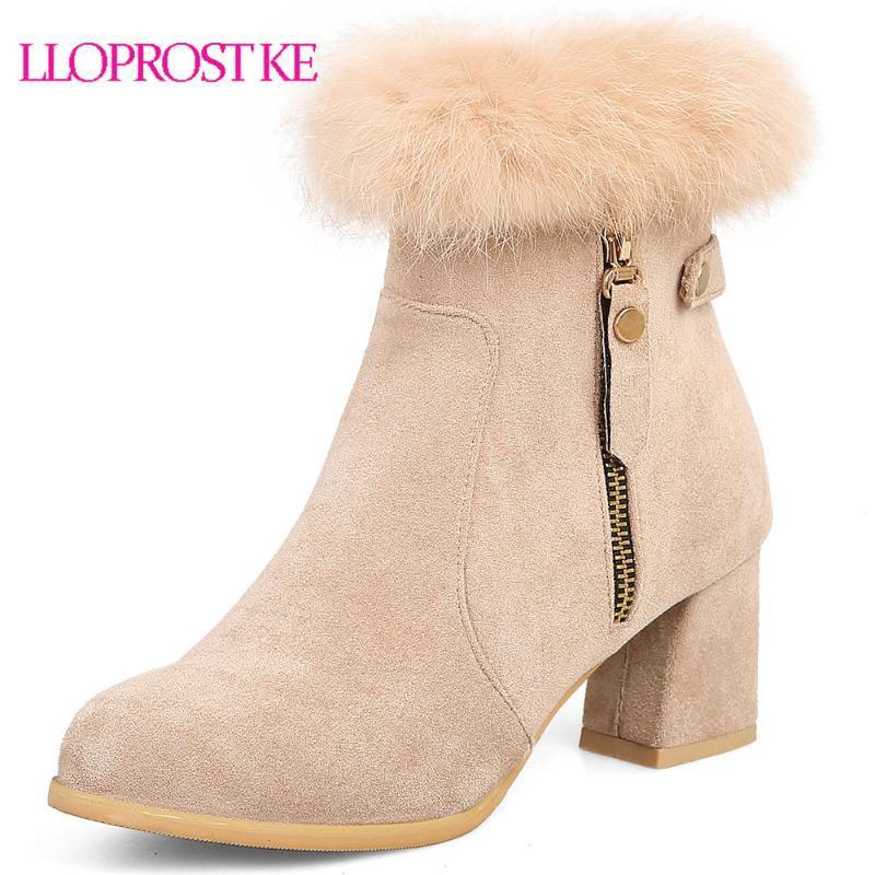 LLOPOST KE Зимняя черная мода женские сапоги круглые носки на молнии квадратный каблук стая дамы сапоги меховые лодыжки плюс размер 33-45
