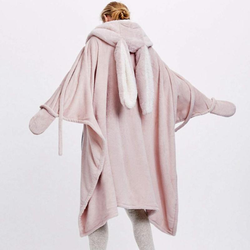 Couverture d'oreilles mignonnes TMWEVN, manteau rose chaud avec des gants, châle de velours de corail, adapté aux hôtels, aux voyages.