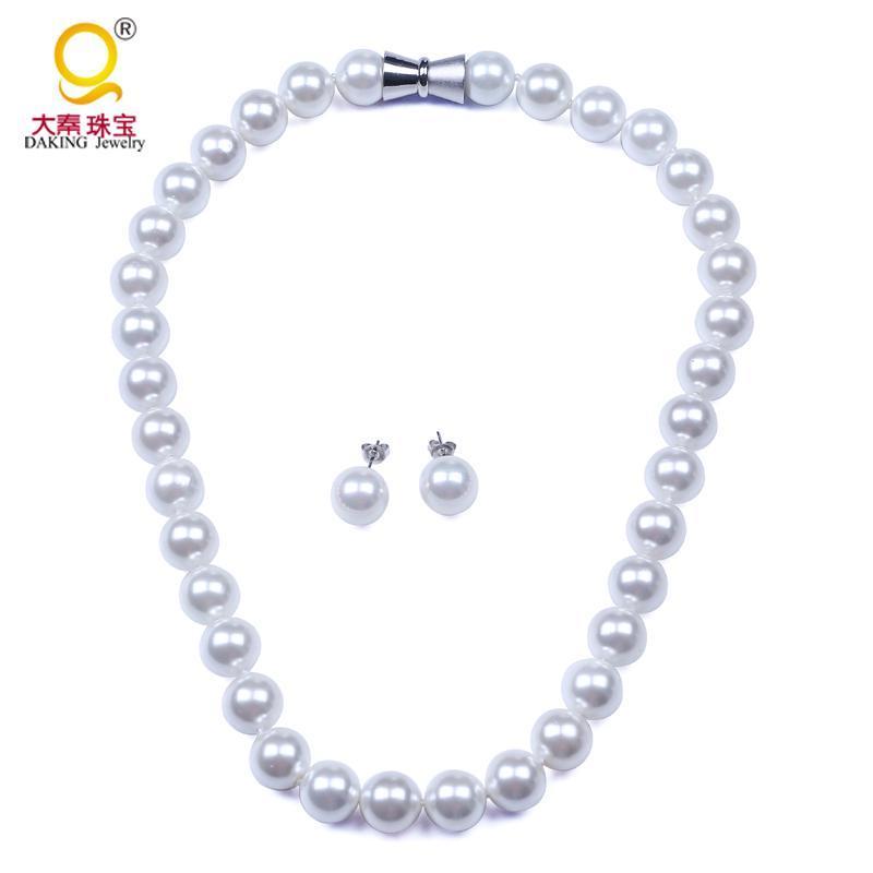 Серьги Ожерелье Мода 12 мм Жемчужная оболочка Ожерелья Устанавливает идеальный круглый Белая Мать Свадебные Свадебные Украшения