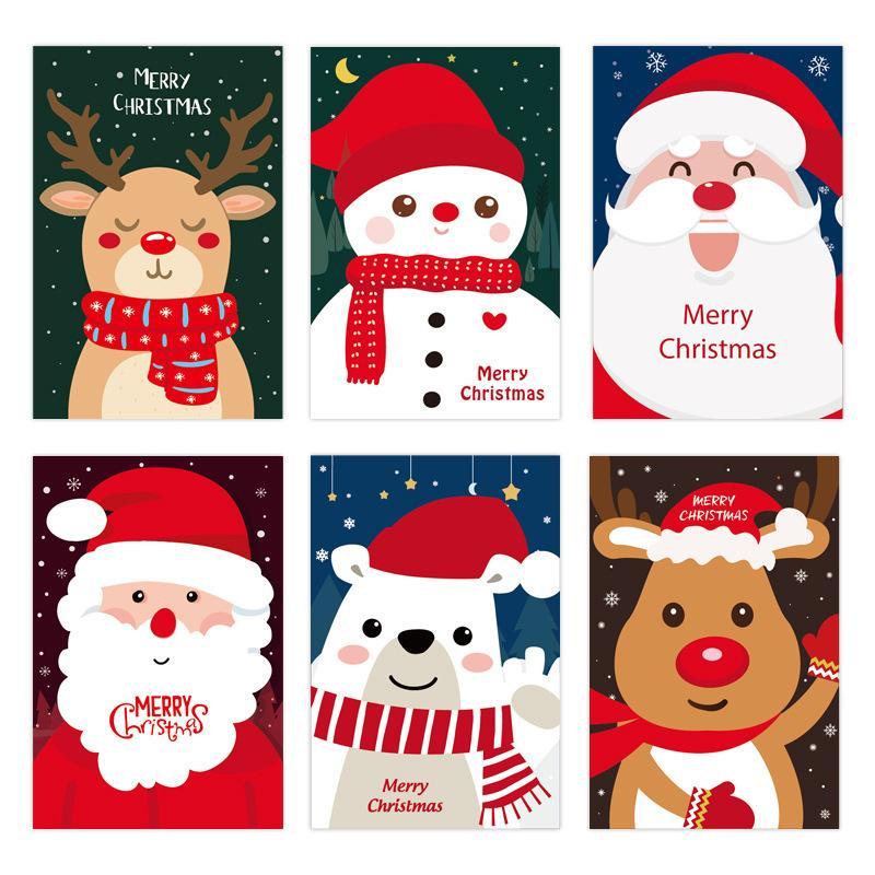 Christmas Greeting Card Babbo Natale Elk pupazzo di neve di stampa Biglietti d'auguri regalo di Natale Biglietti di auguri festa di Natale fornisce XD24190