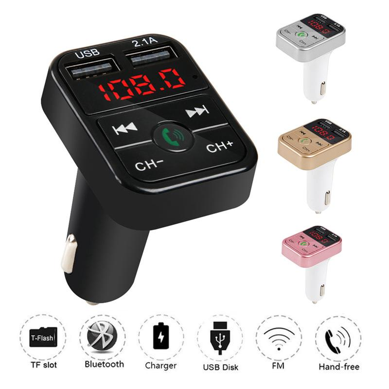 Cheapest CAR B2 Multifunction Bluetooth Transmitter 2.1A Dual USB charger FM MP3 Player Car Kit Support TF Card Handsfree Charger