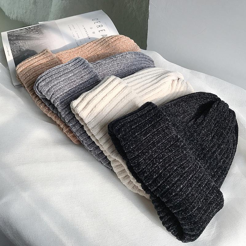 Beanie / Kafatası Kapaklar Kış Çift Katmanlı Kalın Sıcak Hood Hedging Kap Kadın Kore Casual Katı Renk Şönil Örme Şapka 2021 İlkbahar Sonbahar WO