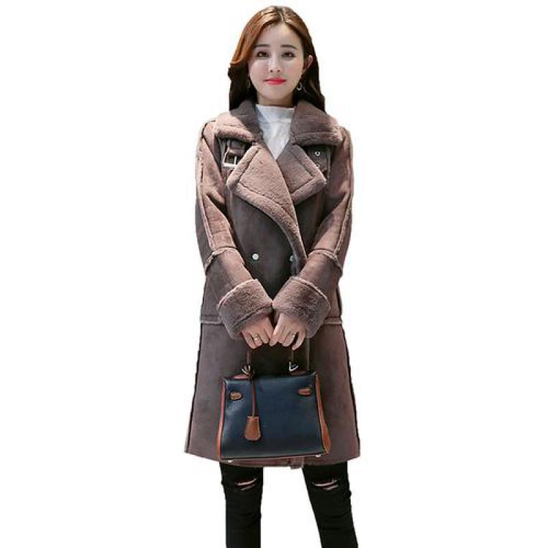 Dress Women Women Faux in pelle scamosciata in pelle di lana medio lungo lungo Giacche di fascia alta 2020 Nuovo inverno moda signore doppio petto tenere il cappotto caldo