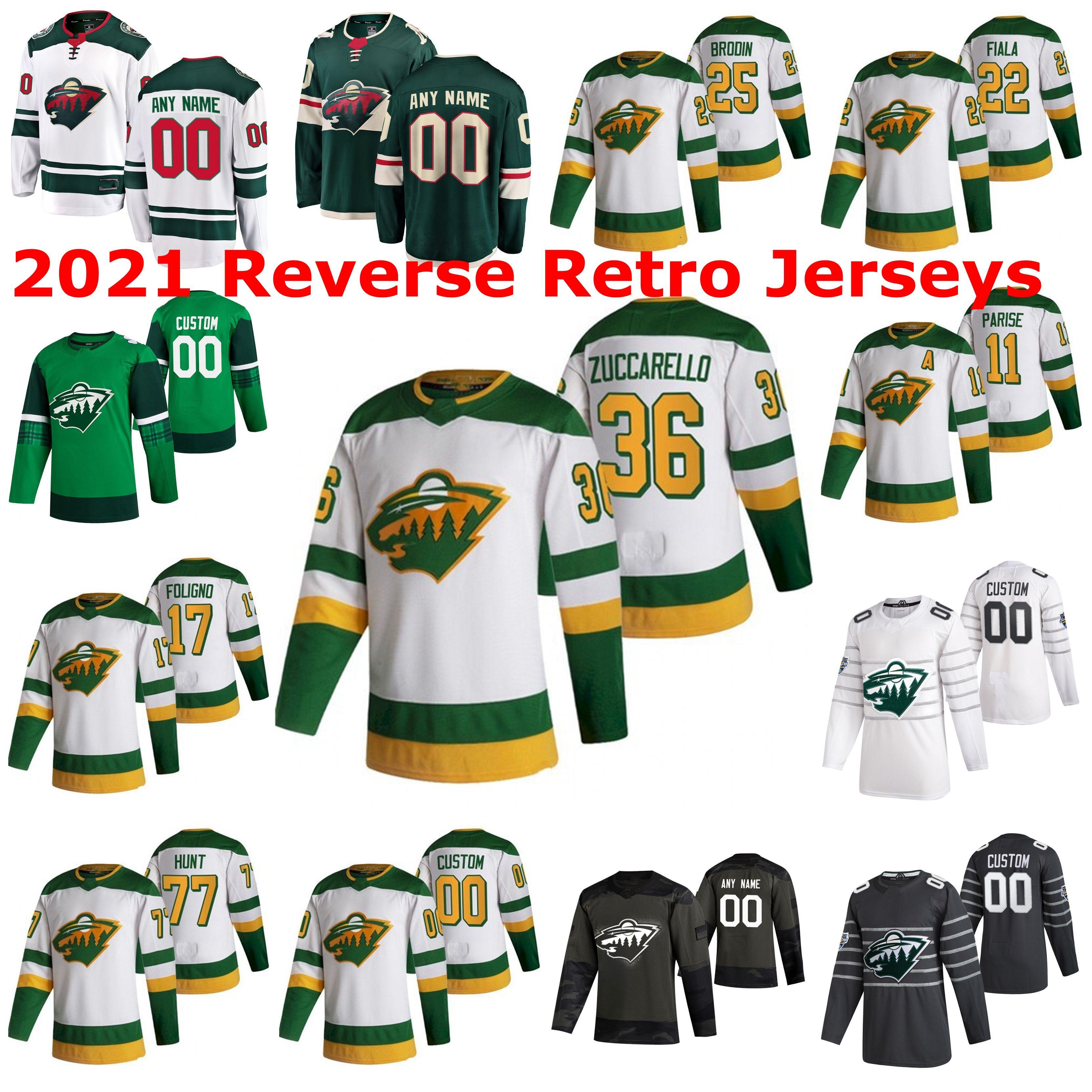 Minnesota Wild 2021 Reverse Retro Jerseys Greg Pateryn Jersey Nick Seeler Carson Soucy Ryan Suter Devan Dubnyk Alex Stalock Custom Stitched