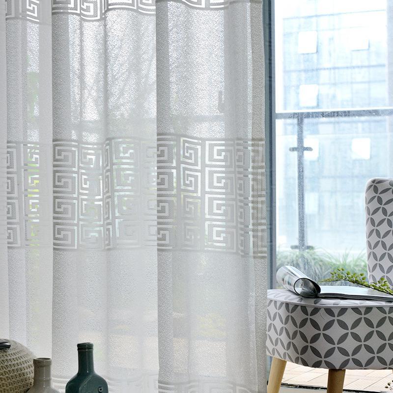 Benutzerdefinierte Vorhang Klassische chinesische Art Vorhänge Modernes Einfache Wohnzimmer Schlafzimmer Baumwolle Fenster Weiß Drape Tüllgarn M143