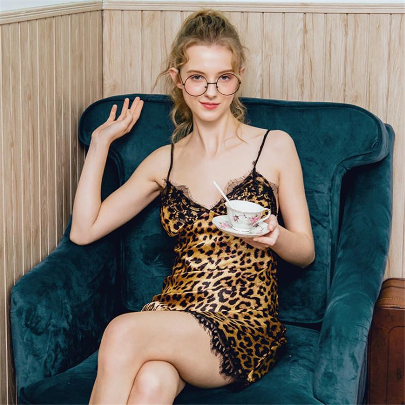 Женщины нижнее белье BodyCon платье для сна Полиэстер кружева мини Nightgown Homewear Leopard Nightdress сексуальное женское белье AD1008
