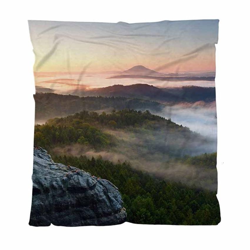 Impression de couvertures colorées numériques pleine automne flanelle personnalisé automne lever de soleil de soleil ciblage couverture molle microfibre lit tellement