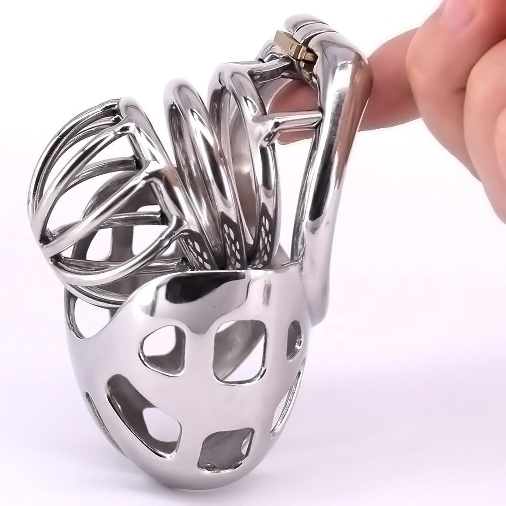 Maschio Cage Cage Cage Acciaio inox ARC PENIS Ring Metal Castity Dispositivi di castità con serrature invisibili Scrotum Bondage Restraints Gear Sex Toys