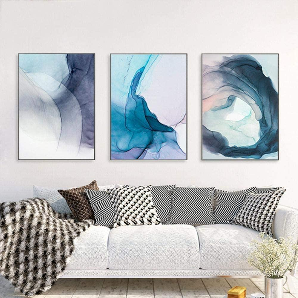 Acquerello Blu Ink Bloom Modern Abstract Canvas Painting Nordic Poster e Stampe Art Wall Art Pictures Home Decor per soggiorno 3psc / set