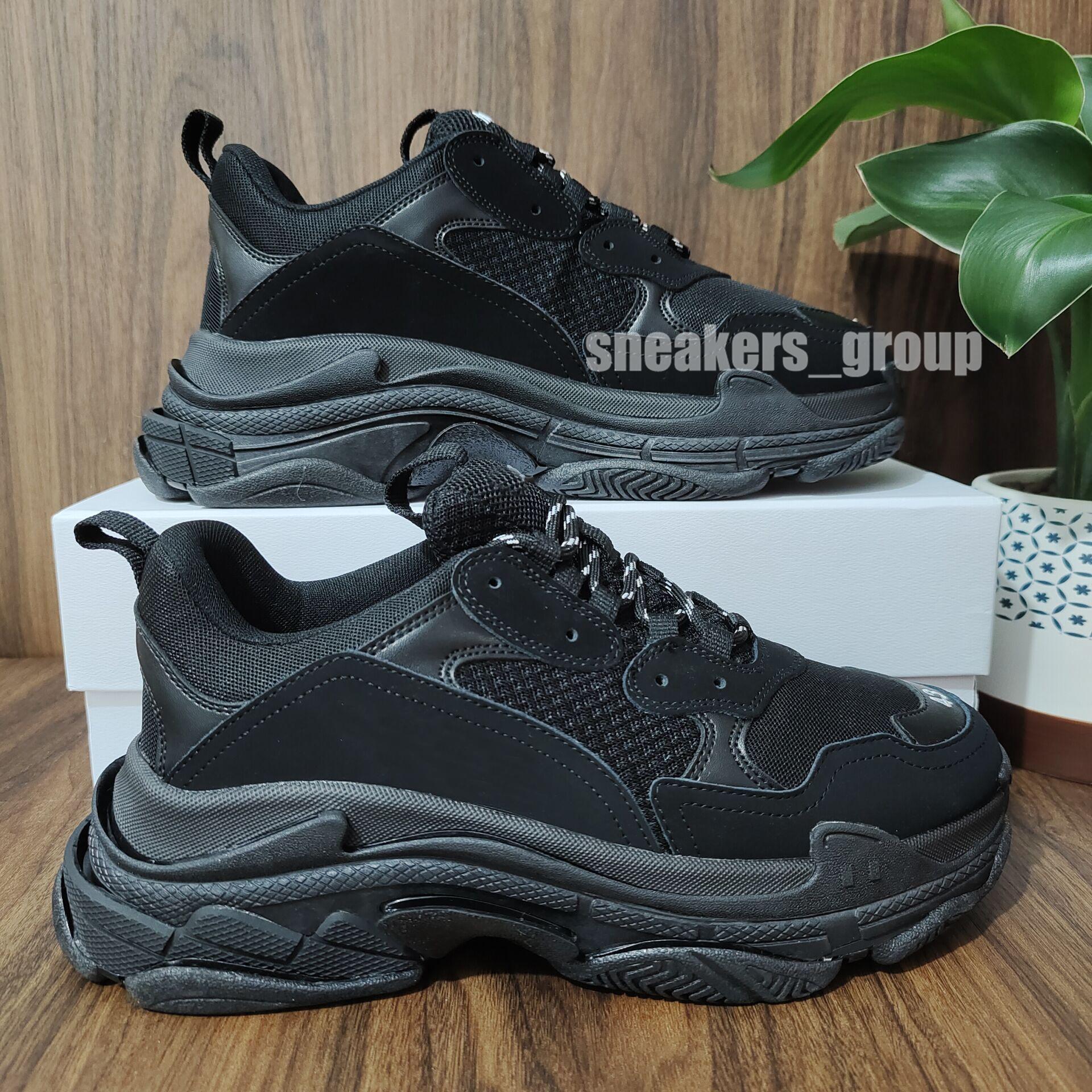 أعلى جودة جديدة باريس الأزياء 17fw الثلاثي s أحذية أحذية الرجال النساء الأسود الأخضر الأبيض خمر القديم أبي الجد عارضة أحذية الحجم 36-45