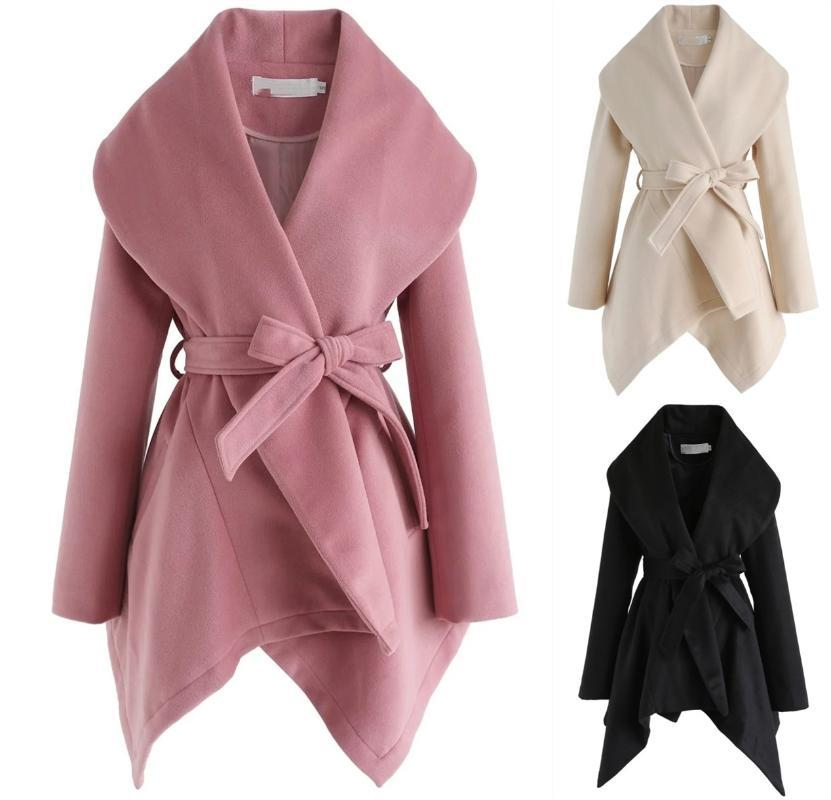 Autumn and winter new fashion solid color lace-up cross shawl woolen coat women cashmere