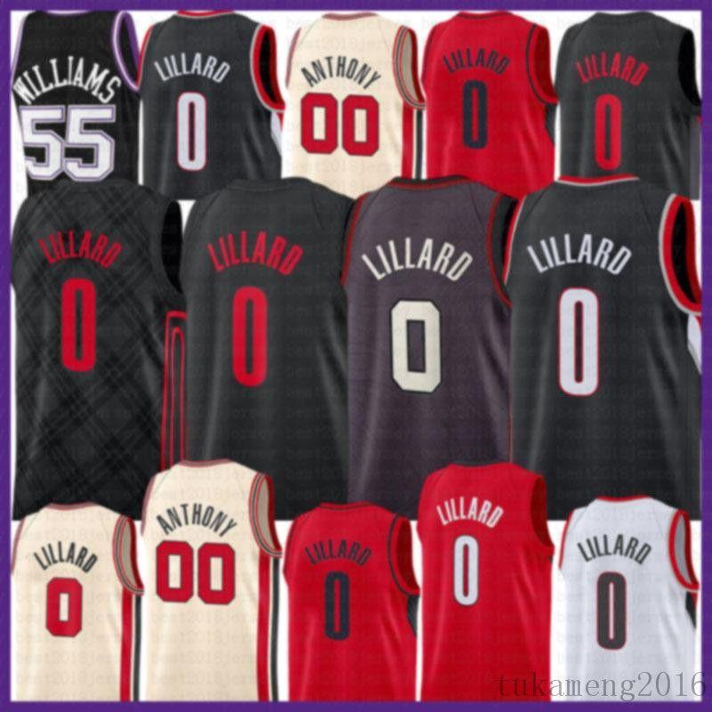 2021 New Damian 0 Lillard Basketball Jersey CJ 3 McCollum Homens Carmelo 00 Anthony Jason 55 Williams Malha Retro Deaaron 5 Fox Grey