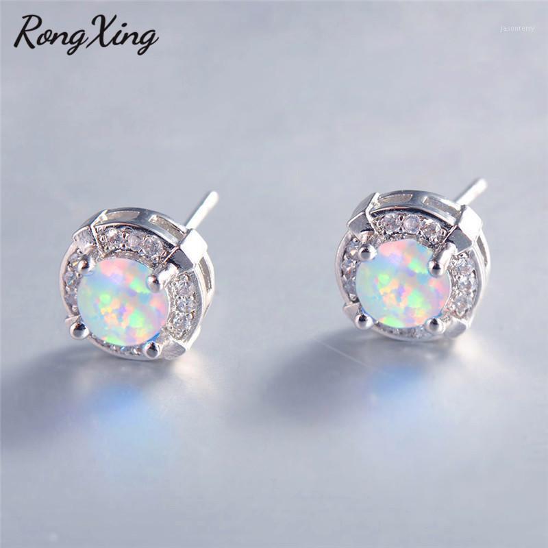 Rongxing Simple Fashion Round Blue / White Fire Opal Stud Pendientes para las mujeres Pendientes de boda llenados de oro blanco EAR07871