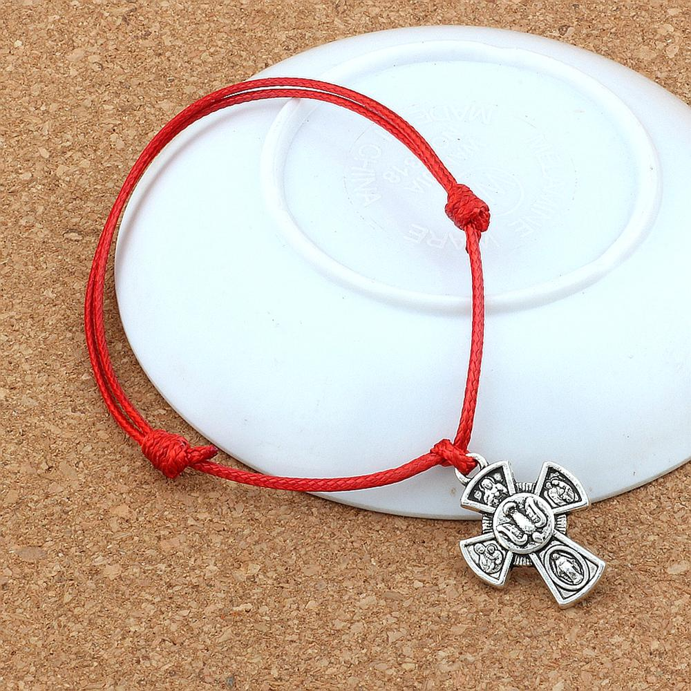 MIC 20pcs / lotes Jesucristo Crucifix cruzado colgante ajustable Kabbalah Corea Cuerda de algodón encerado Pulseras (negro negro) B-248