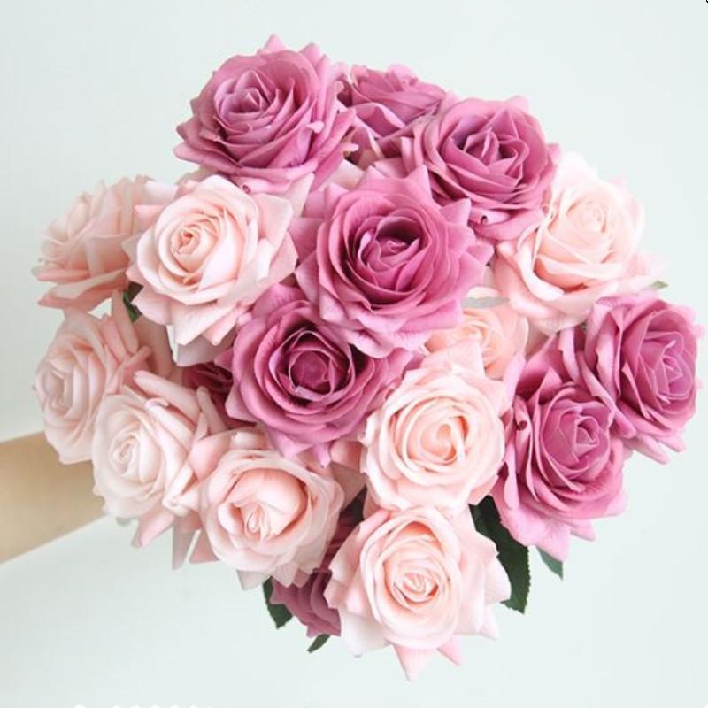 Heiße Hydratisierungsrosen Künstliche Blume DIY Rosen Braut Blumenstrauß Gefälschte Blume für Hochzeitsdekoration Party Home Decors Valentinstag