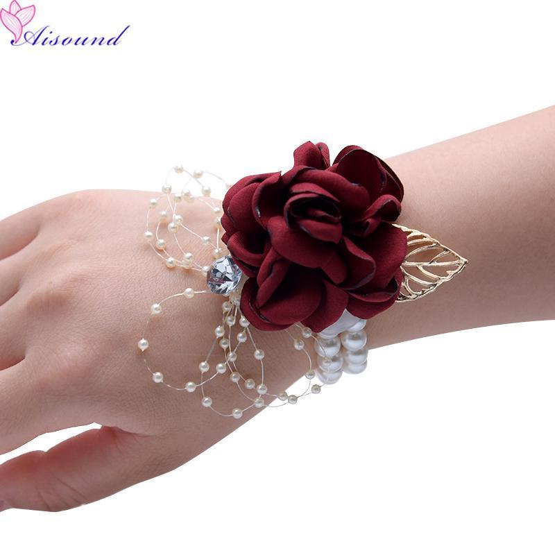 AISOund Hochzeitsblume Corsage Künstliche Rose Blumenarmband für Prom Hochzeit Dekor der Braut Brautjungfer Seidenblumen 10 stücke