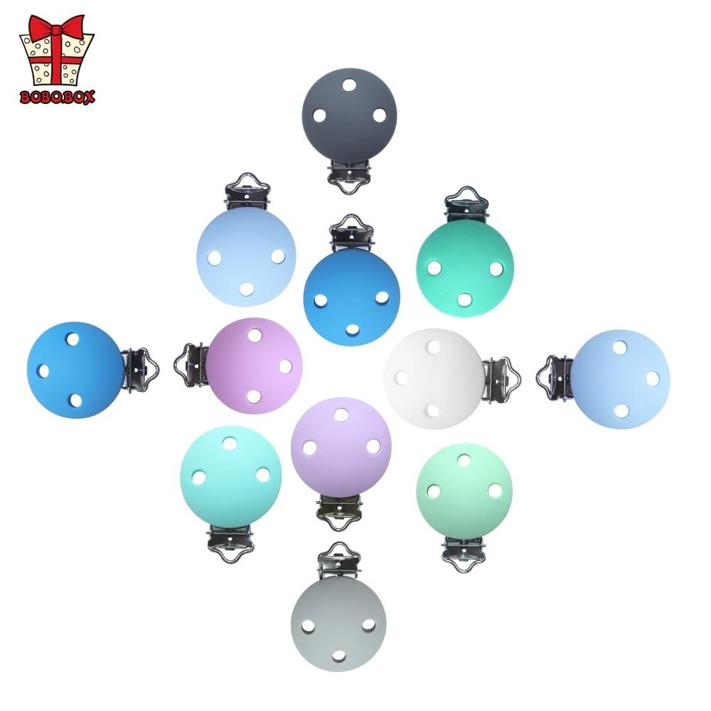 BOBO.BOX 10pcs Round Shaped Pacifier Clip Silicone Bead Baby Teether Soother Nursing Jewelry Toy Accessory Holder Teething Clips 201123