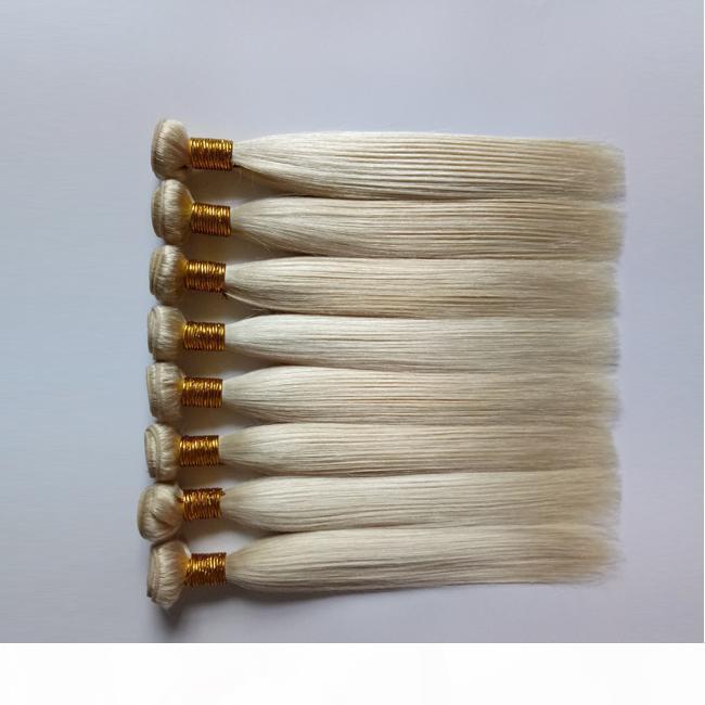 Virgin brasileira linha reta cabelo Weave A moda sexy 3 4 5Bundles Mongol Russo 613 # Loiro Cor de cabelo humano Remy trama extensões