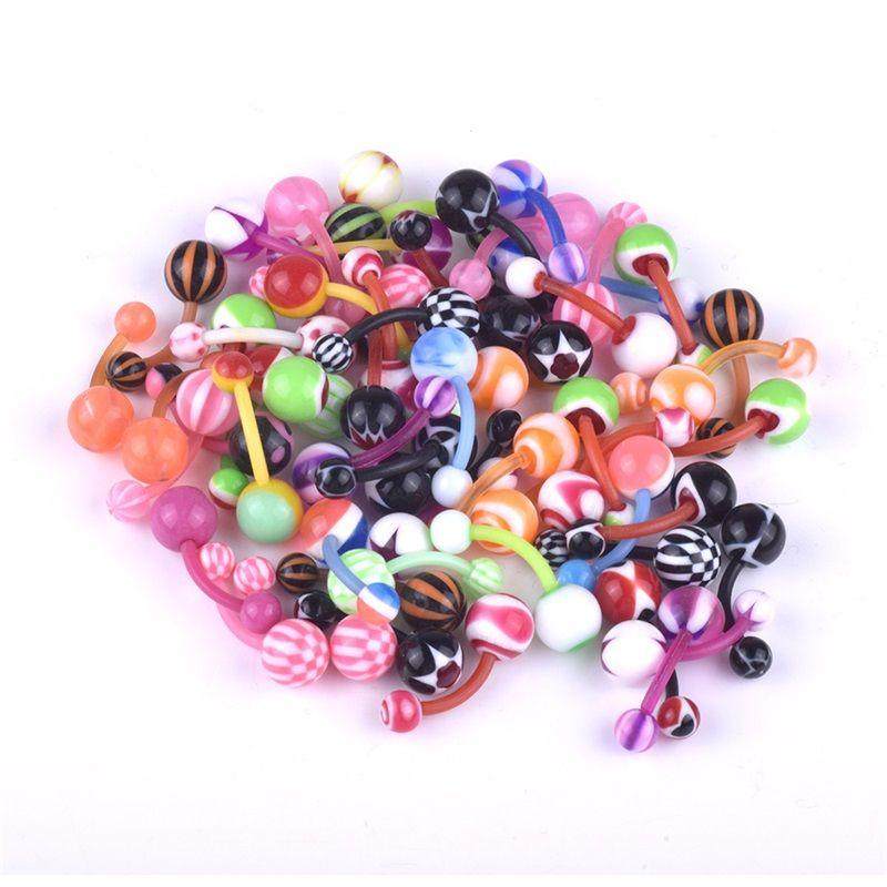 Акриловое пупка кольцо красочные смешанные загрузки пирсинга пуповины для ногтей Ювелирные изделия женщины леди Rainbow NavelButton 0 2LL M2