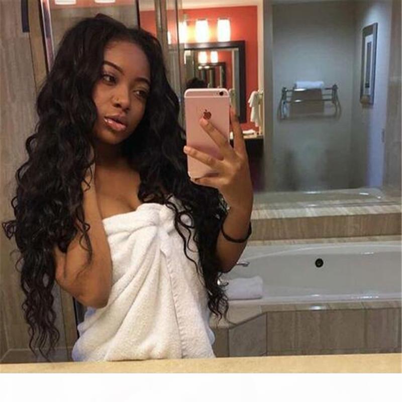 Pelucas de encaje completo sin glanas 7a Malasia suelta ola rizada llena encaje peluca humana cabello humano nudos blanqueados pelucas de encaje completo para mujeres negras